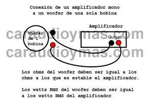 conexion 1 woofer 1 bobina a amplificador mono